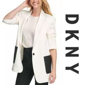 🆕️ DKNY Blazer with contrast faux leather pockets